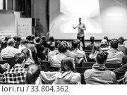 Купить «Business speaker giving a talk at business conference event.», фото № 33804362, снято 9 декабря 2019 г. (c) Matej Kastelic / Фотобанк Лори