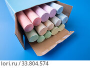 Childrens colored crayons for drawing in the box. Стоковое фото, фотограф Володина Ольга / Фотобанк Лори