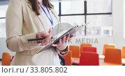 Купить «Businesswoman working in conference room», видеоролик № 33805802, снято 12 октября 2019 г. (c) Wavebreak Media / Фотобанк Лори