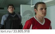 Купить «Hockey players before a game», видеоролик № 33805918, снято 18 ноября 2019 г. (c) Wavebreak Media / Фотобанк Лори