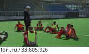 Купить «Hockey players preparing before a game», видеоролик № 33805926, снято 18 ноября 2019 г. (c) Wavebreak Media / Фотобанк Лори