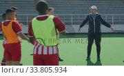 Купить «Hockey players stretching before a game», видеоролик № 33805934, снято 18 ноября 2019 г. (c) Wavebreak Media / Фотобанк Лори