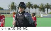 Hockey player before a game. Стоковое видео, агентство Wavebreak Media / Фотобанк Лори