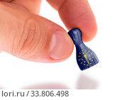 Купить «Hand holding wooden pawn with a flag painting, selective focus, Indiana», фото № 33806498, снято 12 июля 2020 г. (c) age Fotostock / Фотобанк Лори