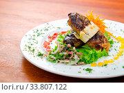 Купить «Meat cuisine - kebab served in plate», фото № 33807122, снято 30 мая 2020 г. (c) age Fotostock / Фотобанк Лори