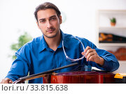 Купить «Young male repairman repairing cello», фото № 33815638, снято 25 октября 2019 г. (c) Elnur / Фотобанк Лори