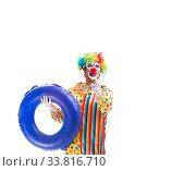 Купить «Funny clown isolated on white background», фото № 33816710, снято 28 сентября 2018 г. (c) Elnur / Фотобанк Лори