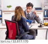 Купить «Lawyer talking to client in office», фото № 33817170, снято 31 июля 2018 г. (c) Elnur / Фотобанк Лори
