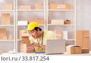 Купить «Handsome contractor working in box delivery relocation service», фото № 33817254, снято 24 июля 2018 г. (c) Elnur / Фотобанк Лори