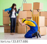 Купить «Woman boss and man contractor working with boxes delivery», фото № 33817686, снято 4 июня 2018 г. (c) Elnur / Фотобанк Лори