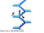 Купить «Businessman climbing stairs on yearly basis», фото № 33818510, снято 21 мая 2020 г. (c) Elnur / Фотобанк Лори