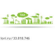 Купить «Carbon tax concept with industrial plant», фото № 33818746, снято 27 мая 2020 г. (c) Elnur / Фотобанк Лори