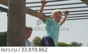Купить «Caucasian boy training at boot camp », видеоролик № 33819862, снято 7 февраля 2020 г. (c) Wavebreak Media / Фотобанк Лори