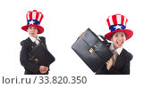 Купить «Woman businessman with american symbols», фото № 33820350, снято 20 июня 2013 г. (c) Elnur / Фотобанк Лори