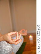 Купить «Yoga and mindfullness indoor exercises at home», фото № 33822930, снято 19 апреля 2020 г. (c) age Fotostock / Фотобанк Лори