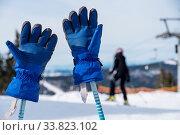 Купить «Skihandschuhe stecken auf Skistöcken im schneebedeckten Skigebiet - Nahaufnahme», фото № 33823102, снято 27 мая 2020 г. (c) easy Fotostock / Фотобанк Лори