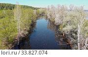Купить «View of the river between the field with trees», видеоролик № 33827074, снято 1 июня 2020 г. (c) Константин Шишкин / Фотобанк Лори