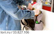 Купить «Side view of faceless female customer wearing disposable protective gloves standing at counter in grocery store with purchases and backpack during corona virus outbreak», видеоролик № 33827106, снято 14 мая 2020 г. (c) Ekaterina Demidova / Фотобанк Лори