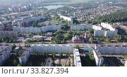 Купить «Top view of the city Orekhovo-Zuyevo. Russian Federation», видеоролик № 33827394, снято 12 мая 2019 г. (c) Яков Филимонов / Фотобанк Лори