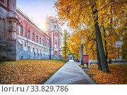 Купить «Башня дворца в Царицыно осенним утром», фото № 33829786, снято 15 октября 2018 г. (c) Baturina Yuliya / Фотобанк Лори