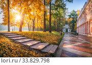 Купить «Ступени в осеннем парке Царицыно», фото № 33829798, снято 15 октября 2018 г. (c) Baturina Yuliya / Фотобанк Лори