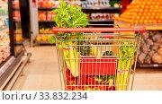 Einkaufswagen voll mit gesunden Lebensmitteln im Supermarkt. Стоковое фото, фотограф Zoonar.com/Robert Kneschke / age Fotostock / Фотобанк Лори