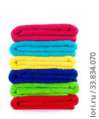 Colored bathroom towels isolated against a white background. Стоковое фото, фотограф Zoonar.com/Kitch Bain / easy Fotostock / Фотобанк Лори