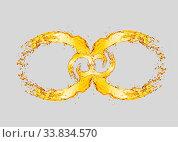 Купить «Decorative infinity sign from splashing light beer waves on a light grey background with copy space.», фото № 33834570, снято 26 мая 2020 г. (c) easy Fotostock / Фотобанк Лори