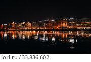 Night city panorama of Geneva (2016 год). Редакционное фото, фотограф EugeneSergeev / Фотобанк Лори