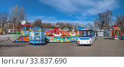 Купить «Quarantined Luna Park in Odessa, Ukraine», фото № 33837690, снято 17 марта 2020 г. (c) Sergii Zarev / Фотобанк Лори
