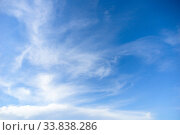 Blue sky with cirrus clouds at daytime. Natural background. Стоковое фото, фотограф EugeneSergeev / Фотобанк Лори