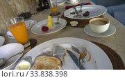 Купить «A lot of dirty dishes with leftover food. Dirty dishes with leftover food, Meals on plates after breakfast, Shot in 4K UHD», видеоролик № 33838398, снято 2 июня 2009 г. (c) Куликов Константин / Фотобанк Лори