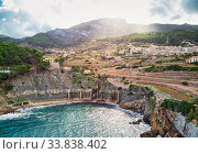 Купить «Picturesque cove and Mediterranean Sea of Banyalbufar village. Mallorca, Spain», фото № 33838402, снято 6 ноября 2018 г. (c) Alexander Tihonovs / Фотобанк Лори