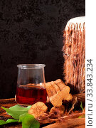 Купить «Ayahuasca ingredients and brew. Shamanic entheogen psychoactive plant material.», фото № 33843234, снято 4 августа 2020 г. (c) easy Fotostock / Фотобанк Лори
