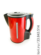 Купить «Red electrical kettle isolated on white», фото № 33843514, снято 16 июля 2020 г. (c) easy Fotostock / Фотобанк Лори