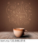 Купить «Steaming warm drink decorated with doodle line art», фото № 33846814, снято 16 июля 2020 г. (c) easy Fotostock / Фотобанк Лори
