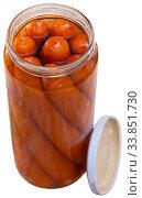 Купить «Open jar with sausages», фото № 33851730, снято 31 мая 2020 г. (c) Яков Филимонов / Фотобанк Лори