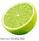 Half lime citrus fruit isolated on white. Стоковое фото, фотограф Роман Самохин / Фотобанк Лори