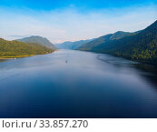 Купить «Teletskoye lake in Altai mountains, Siberia, Russia. Drone shot. Beauty summer day.», фото № 33857270, снято 31 мая 2020 г. (c) easy Fotostock / Фотобанк Лори