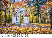 Виноградные ворота в осеннем парке Царицыно в Москве (2018 год). Редакционное фото, фотограф Baturina Yuliya / Фотобанк Лори