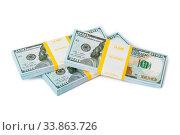 Купить «Bundles of money isolated on white background», фото № 33863726, снято 11 июля 2020 г. (c) easy Fotostock / Фотобанк Лори