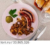 Grilled sausages with mushrooms. Стоковое фото, фотограф Яков Филимонов / Фотобанк Лори