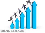Купить «Colleagues helping each other to improve results», фото № 33867786, снято 6 июня 2020 г. (c) Elnur / Фотобанк Лори
