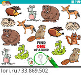 Cartoon Illustration of Find One of a Kind Picture Educational Game with Funny Wild Animal Characters. Стоковое фото, фотограф Zoonar.com/Igor Zakowski / easy Fotostock / Фотобанк Лори