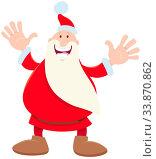 Cartoon Illustration of Cheerful Santa Claus Character on Christmas Time. Стоковое фото, фотограф Zoonar.com/Igor Zakowski / easy Fotostock / Фотобанк Лори