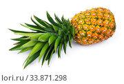 Купить «One whole pineapple isolated on white background», фото № 33871298, снято 30 мая 2020 г. (c) easy Fotostock / Фотобанк Лори