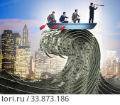Купить «Businessman leading his team through wave of dollars», фото № 33873186, снято 6 июня 2020 г. (c) Elnur / Фотобанк Лори