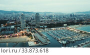 Купить «Famous Barceloneta beach on Mediterranean in Barcelona in night lights», видеоролик № 33873618, снято 28 сентября 2018 г. (c) Яков Филимонов / Фотобанк Лори