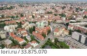Купить «Panoramic aerial view of Udine cityscape, Italy», видеоролик № 33875070, снято 2 сентября 2019 г. (c) Яков Филимонов / Фотобанк Лори