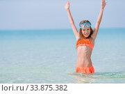 Купить «Cute little girl at beach during caribbean vacation», фото № 33875382, снято 20 февраля 2020 г. (c) Дмитрий Травников / Фотобанк Лори